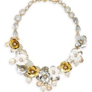 🔥NWT JCrew White-Gold Blooming Sequin Necklace